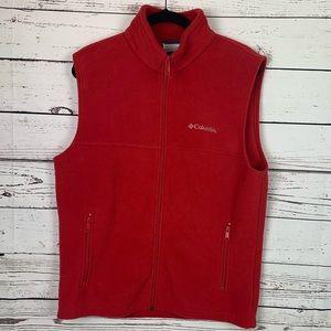 Columbia Red Fleece Vest Size M